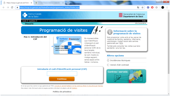 Medical appoinment in Catalonia online
